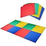 HOMCOM Alfombra Puzzle para Niños 8 Piezas Alfombrillas de Juego Espuma EVA con Área de Cobertura 2,88 m² No Tóxica 60x60x1,2 cm Multicolor
