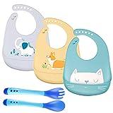 3 Piezas Baberos para Bebés Impermeables Baberos de Silicona con un Amplio Bolsillo para Recolector Migas de Alimentos