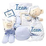 Velvet Dou Dou de Mababy | Canastilla Bebé Personalizada | Cesta Regalo Recién Nacido | Set Bebe Recién Nacido Personalizado (Azul)