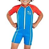 Speedo Seasquad Hot Tot Suit Bañador, Unisex niños, Neon Blue/Risk Red, 2 años