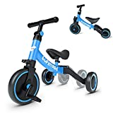 besrey Triciclos para Niños, 5 en 1 Un Bici polivalente, Adecuado para niños de 1-4 años,Triciclo,Bicicleta,Carro de Equilibrio,Caminante, Altura del Asiento Regulable, Azul