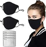 finebo Negra 𝐌à𝐬𝐜a𝐫𝐢𝐥𝐥as para Hombres Mujeres, Reutilizable y Lavable Transpirable Antipolvo Carbón Activado Filtro Pack 2 Unidades + 4 Unidades Almohadillas