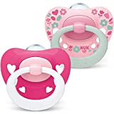 NUK - Chupete Signature, de 18 – 36 meses, chupete de silicona sin BPA, con corazones rosas, 2 unidades