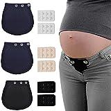 3Pcs Extensores de Cintura de Embarazo Extensores de Pantalones de Maternidad Alargador Pantalon Embarazada para Mujeres Embarazadas Extensor de Cintura Ajustable + 6Pcs Extensores de Sujetador
