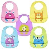 5 Pz Baberos Suave de Silicona para Bebés Impermeable, Monstruos Lindos| Ajustable, Flexible, Cómodo y Fácil de Limpiar - Sin BPA - Baby Bib para Destete y Alimentación.