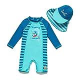 Bonverano - Bañador para bebé (manga larga, protección UV 50+, con cremallera) Dinosaurio azul. 86 cm-92 cm