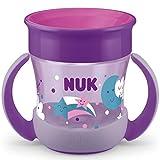 NUK Mini Magic Cup Night taza para sorber | Borde a prueba de derrames de 360° | +6 meses | Brillan en la oscuridad | Sin BPA | 160ml | Morado