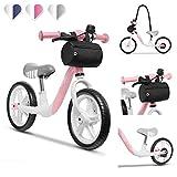Lionelo Arie Bicicleta de equilibrio 39 x 88 x 64 cm Para niños de hasta 30 kg Ruedas de 12 pulgadas Freno de mano Manillar y sillín ajustables y cómodos Cinturón para transporte Rosa