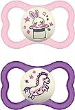 Instrucciones en lengua extranjera - MAM Air Night - Juego de 2 chupetes de silicona para bebé con diseño de escudo extra ligero y ventilado con caja para chupete 6-16 meses conejo/caballo