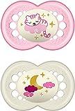 Instrucciones en lengua extranjera - MAM Juego de 2 chupetes de látex Night para bebés, con diseño de tigre y luna, 6 a 16 meses, Instrucciones en lengua extranjera