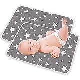 Cambiador de Bebé Pañales Portátil Cambiador Plegable viaje para Niños Bebés Reutilizable Impermeable Lavable Cambiador de Pañales 2 piezas 50 x 70cm