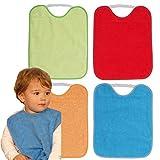 TI TIN Pack 4 Baberos Impermeables para Bebé con Cierre con Goma 90% Algodón - 10% Poliéster con Forro de Vinilo   Para Bebés de Más de 1 Año, 28x32cm
