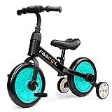 Fascol 3 en 1 Bicicleta de Equilibrio para 2-6 Años Niños, Triciclo para Bebes con Pedales Desmontables y Ruedas Auxiliares, Diseño de Asiento Elevador para Ajustar Alturas (Verde)