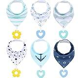 GUIFIER Baberos bandana de algodón orgánico súper suaves, absorbentes, baberos unisex con pañuelo, baberos para recién nacidos, bebés, niños, niñas y dentición