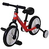 HOMCOM Bicicleta de Equilibrio con Pedales y Ruedas Entrenamiento Extraíbles de Asiento Regulable 33-38cm Niños +24 Meses Carga 25kg Rojo