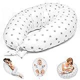 Almohada Embarazada y Cojin Lactancia 165 x 70 cm Almohada - Cojín Embarazo Maternidad Dormir y Cojines Blanco con Estrellas Grises