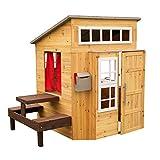 KidKraft- Casa de jardín moderna de madera para niños, incluye cocina de juego y accesorios, Color Natural (182)