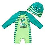 upandfast Bañador para bebé con sombrero para el sol, UPF 50+, cremallera de una pieza, Dinosaurios, 12-18 Meses