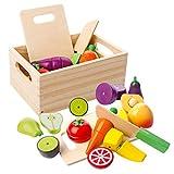 mysunny Juguetes de Cocina de Madera para niños, Juguete magnéticos de Frutas y Verduras educativos de simulación y Juguete de percepción de Color para Bebe en Edad Preescolar niños niñas
