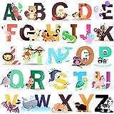 OOTSR 26 Alfabeto de Animales Pegatinas de Pared, Wall Art Sticker, Vinilos decorativos Pared Dormitorio Salón Guardería Habitación Infantiles Niños Bebés