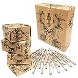Nature Nerds – (800 piezas) Bastoncillos de algodón hechos de bambú y algodón orgánico, sin plástico y sostenible