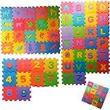Alfombra Puzzle Bebés| Alfombra Bebé con 72 Piezas De Goma Espuma Que Incluyen Números, Animales y Letras del Alfabeto | Alfombra Puzzle Bebé Ideal para Aprender