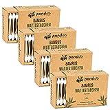 Pandoo 4 hisopos de algodón de bambú para bebés - 100% biodegradable, vegano y sostenible - Hisopos de algodón de alta calidad compostables