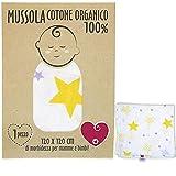 Muselina de bebé de algodón suave y orgánico para niños y bebés. Ideal como toalla para cunas, cochecitos. 100 % hipoalergénica, 120 x 120 cm. Caja de regalo incluida.