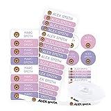 Pack 155 etiquetas personalizadas para marcar ropa y objetos. 100 Etiquetas de tela termoadhesiva + 55 etiquetas adhesivas de vinilo. (Color 15)