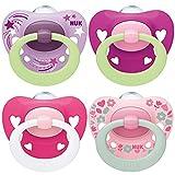 NUK chupetes para bebés noche y día | 18-36 meses | Chupetes que brillan en la oscuridad | Silicona sin BPA | Azul | 4 unidades