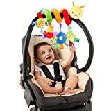 TOYANDONA Sonajeros para Bebé Cochecito de Juguete para Cuna con Timbre Asiento de Coche Juguetes Actividad para Bebés Juguetes de Peluche en Espiral para Accesorios de Barra de Cochecito