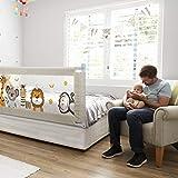 Fascol Barandillas de la Cama Infantil de Acero Carbono, Ajustable para Niños de 0 a 7 años, Barrera de Seguridad Anti-caída para Bebés Portátil y Estable, (180 X 93 cm)
