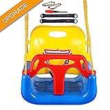IMMEK Columpio Infantil Columpio 3 en 1 con Respaldo y Protección Frontal Desmontable para Seguridad con Cuerda