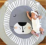 Estera de arrastre para bebé, Queta Alfombrilla de bebé para jugar Crawling dormir cambiar suave cálido grueso acolchado 90 cm Large Round (León)