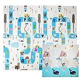 CCLIFE Alfombra de Juegos Reversible Colchoneta Infantil Plegable.Alfombra de Juegos de XPE, Colchoneta de Juegos Plegable, Alfombra de Doble Cara, Impermeable, No tóxico, Color:Animales y letras