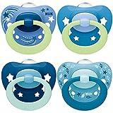 NUK chupetes para bebés noche y día   6-18 meses   Chupetes que brillan en la oscuridad   Silicona sin BPA   Azul   4 unidades