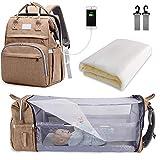 SNDMOR-Mochila para pañales de bebé de gran capacidad, para cuna de viaje, plegable, organizador de mochila para pañales de cuna multifuncional con cambiador de pañales(color Arena)
