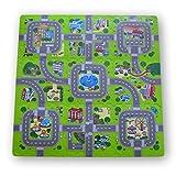 Alfombra puzzle de goma EVA para niños. Diseño de circuito de tráfico. 1 cm. de espesor. 9 piezas intercambiables. Modelo 1
