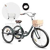 Viribus Triciclo para Adultos 26'' con Cesta Extraíble Bicicleta de 3 Ruedas para Compras, Ejercicios y Mascotas Bicicleta de Triciclo con Bolsa Impermeable y Campana (26''/Verde)