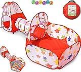 NUBUNI 3 en 1 Tienda Campaña Infantil : Piscina de Bolas + Casita Infantil + Tunel Infantil: Plegable Parque Bebe Bolas Infantil Jardín Exterior Interior Juguetes Niños Niñas Bebes Casitas Tela Tipi A