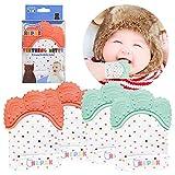 NEPAK 4 pack Baby dentición Manoplas-Protege Manos Bebés-Pain Relief Tranquilizadora de Edad- baby Dentación Mittens-Silicona flexible SIN BPA(Colores coral y menta)
