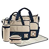 FREESOO Set 5 kits Bolsa de Mama Para Bebe Biberon Bolso Cambiador de Pañales Bolsillo Maternal Bebé para Carro Carrito Biberón Colchoneta Comida Pañal con Gran Capacidad
