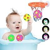 MMTX Juguetes de Baño para Bebés con 3 Pelotas LED Flotante de Agua para Bañera Hoop Luz Parpadeo Jueguete Regalo para Niños Ducha Baño Piscina para 1 2 3 4 5 Años Bebé Niño Pequeño