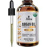 Kanzy Aceite de Argan Puro de Marruecos 100ml Bio 100% Morrocan Oil Rico en Vitamina E y Antioxidantes, Argan Oil para Cabello, Barba, Piel, Cuerpo y las Uñas en Botella de Vidrio