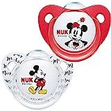NUK Disney Mickey Mouse Trendline - Chupete de silicona (0-6 meses, sin BPA, 2 unidades), color rojo