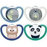 NUK Space chupetes para bebés noche y día | 6-18 meses | Chupetes que brillan en la oscuridad con ventilación adicional | Silicona sin BPA | Azul | 4 unidades