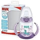 NUK First Choice+ - Biberón para aprender a beber de 6 a 18 meses, 150 ml, indicador de control de temperatura, boquilla antigoteo, asas ergonómicas, sin BPA, unicornio