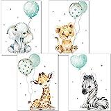 artpin Juego de 4 imágenes para habitación de niños, Menta verde decoración para niños y niñas, DIN A4, póster, diseño de animales de la jungla p63