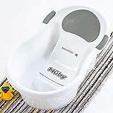 Nuby - Bañera para bebé con asiento integrado y reposacabezas suave, color blanco y gris