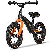 Lionelo Bart Bicicleta sin pedales 39 x 88 x 50-57 cm Para niños de hasta 30 kg Ajuste del asiento y manillar Bloqueo de volante Resistente a daños Asa de transporte Negro y Naranja